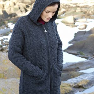 Ladies Long Length Merino Wool Cardigan Jacket