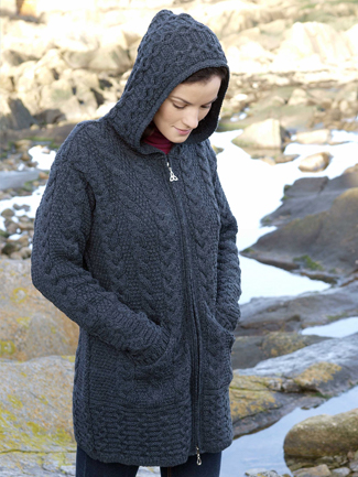 Ladies Long Length Merino Wool Cardigan Jacket